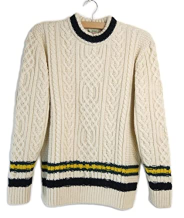 Kilkeel Knitting Mills Mock Neck Cable Line Jumper: White