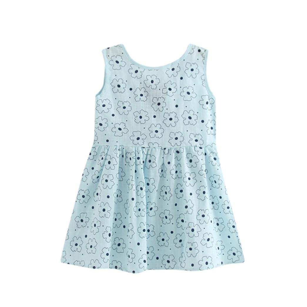 For 2-7 Years old Girls,Clode® Cute Toddler Infant Baby Girl Summer Print Bowknot Princess Dress Kids Baby Party Wedding Sleeveless Mini Dresses Clode-TS-00219