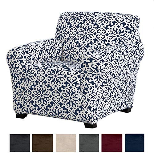 Great Bay Home Modern Velvet Plush Strapless Slipcover. Form Fit Stretch, Stylish Furniture Cover/Protector. Gale Collection Brand. (Chair, Snowflake - Dark Denim Blue) (Floral Chair Slipcover)