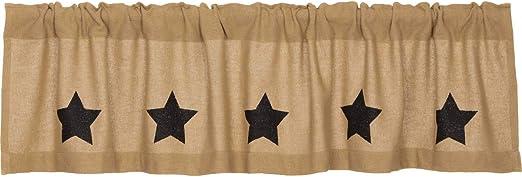 Burlap W//Black Stenciled Stars Primitive Country Cabin Window Valance