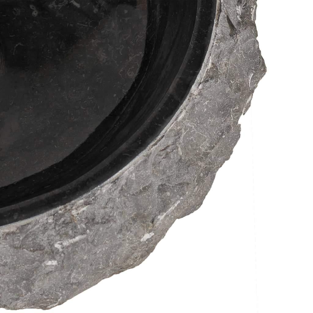 vidaXL Lavabo Sanitario Cuarto de Ba/ño Servicio Fregadero Piezas de Fontaner/ía Bricolaje Instalaci/ón Decoraci/ón Aseos Grifer/ía 40x12 cm M/ármol Negro Piedra Natural