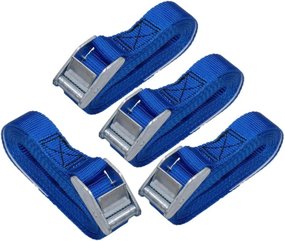 AmazonBasics 12-Feet Long Lashing Strap, Blue, 4-Pack