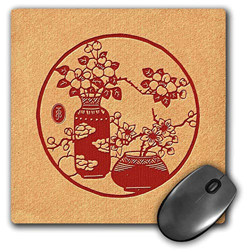 - 3dRose Russ Billington- Beautiful China Series - Red Chinese Design with Two Vases and Flowers - Mousepad (mp_238804_1)