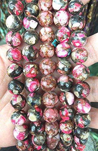 tone,Multicolor Rainbow gold round ball Jasper stone Jasper necklace strand 16inch ()