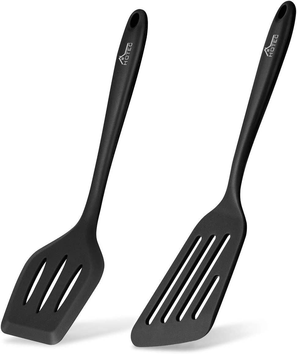 Hotec 2 pieces Food grade Silicone Slotted Fish Turner Spatula Set Kitchen Utensils for Baking, Cooking Heat Resistant Non Stick Cookware Strong Stainless Steel Core Inside Dishwasher Safe … (Black)