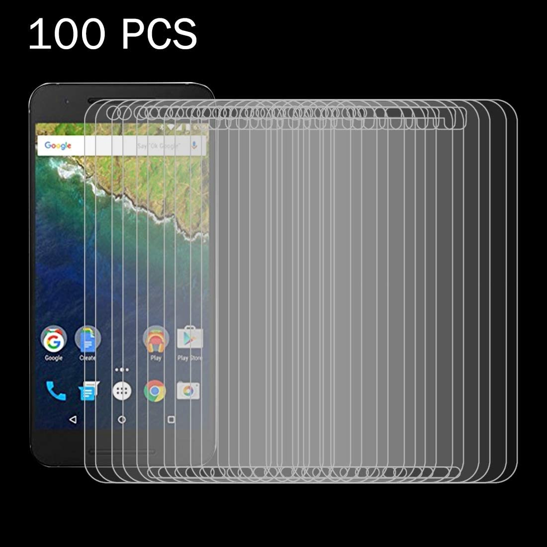 GzPuluz Glass Protector Film 100 PCS for Google Nexus 6P 0.26mm 9H Surface Hardness 2.5D Explosion-Proof Tempered Glass Screen Film