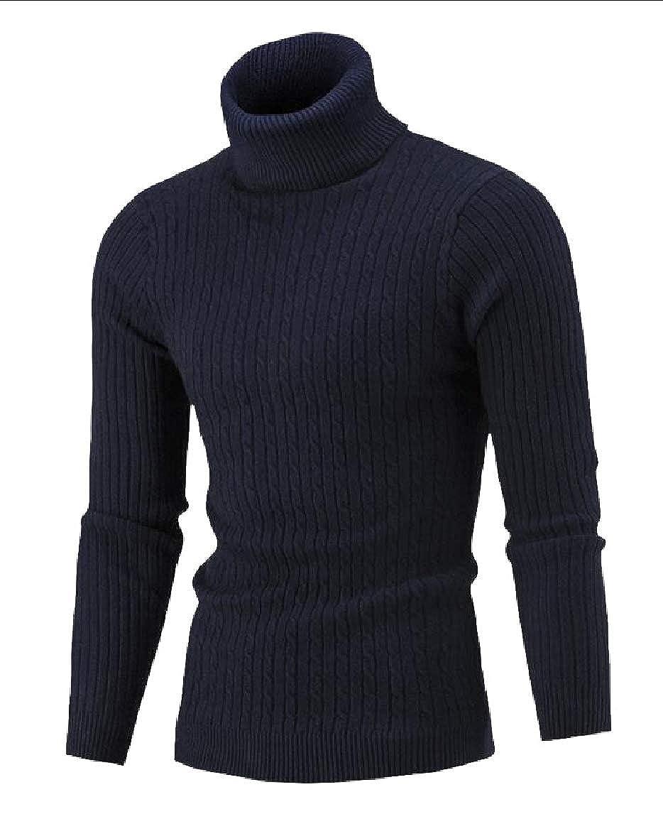 Yayu Men Slim Fit Basic Ribbed Thermal Turtleneck Pullover Sweater
