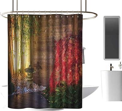 TimBeve Cortina de Ducha para jardín de baño, lámpara de Piedra Japonesa y árbol de Arce Rojo en un jardín de Zen otoñal de bambú, Cortina de baño Decorativa de 70 x
