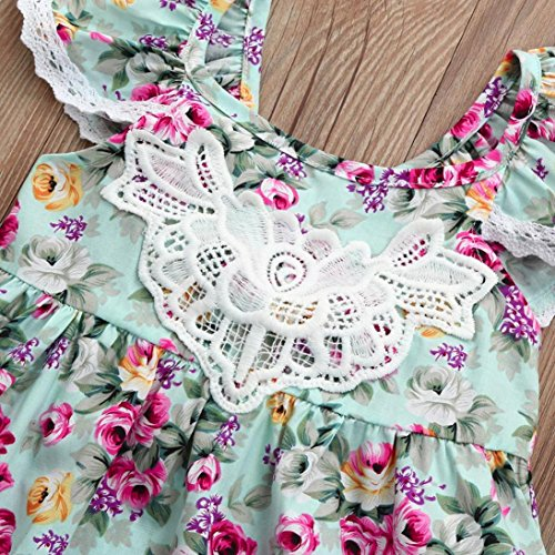 0d3d7859ec42 Winsummer Little Sister Floral Print Sleeveless Backless Lace Ruffle Summer  Dress Girls Party Princess Dresses
