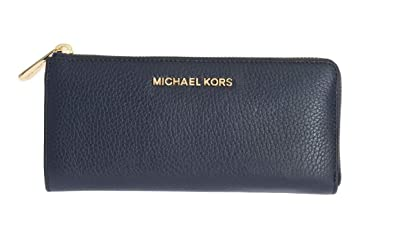 b8382d72a904f Michael Kors Bedford Large Three Quarter Zip Around Pebbled Leather Wallet  (Navy)