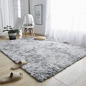 "GOOVI Area Rugs Soft Fluffy Modern Home Decor Washable Non-Slip Carpet for Bedroom, Living Room, Boys Room, Girls Room, Play Room (5' 3"" x 6' 6"" Rectangle, Light Grey)"