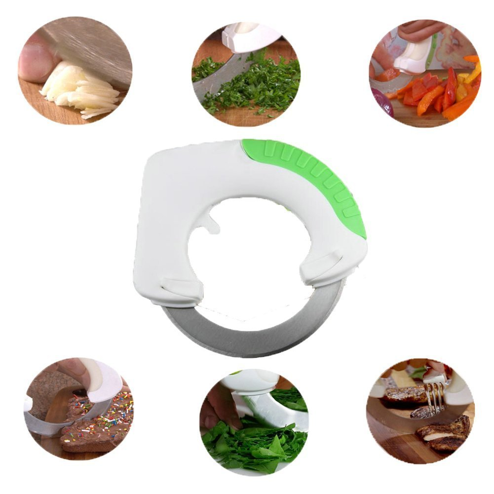 Creative Design Rolling Knife ,Clever Cutter ,Stainless Steel Kitchen Appliances Circular Rolling Knife / Vegetable fruit slicer Versatile Stainless Steel Rotatable cutting board Scissors for cutting Fruits, Vegetables, Potatoes, Onions, Cucumber, Carrots