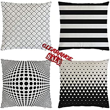 sweet white sofa cover   Amazon.com: DYang Beautiful Black&White Geometric Pattern ...