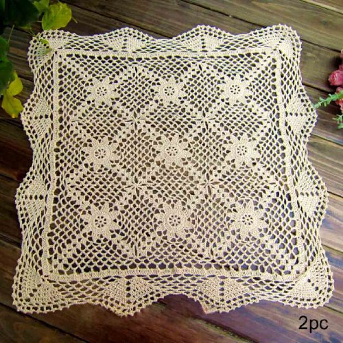 kilofly Handmade Crochet Cotton Lace Table Placemats Sofa Doilies, 2pc, Square, Beige,19.6 inch (Ivory Dollies)