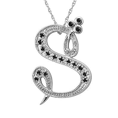 Amazon 14k white gold alphabet initial letter s black diamond 14k white gold alphabet initial letter s black diamond pendant necklace 010 carat aloadofball Gallery