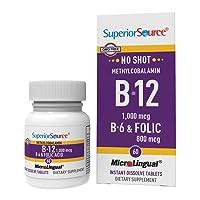 Superior Source No Shot Vitamin B12 Methylcobalamin 1000 mcg Sublingual - B6 - Folic Acid - Instant Dissolve Tablets - Methyl B12 Supplement 60 Count