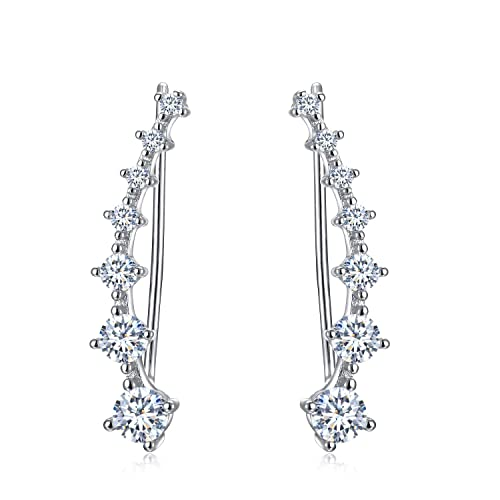 e763dfb85 Amazon.com: Round CZ Ear Climber Earrings - 925 Sterling Silver Ear Cuffs:  Jewelry