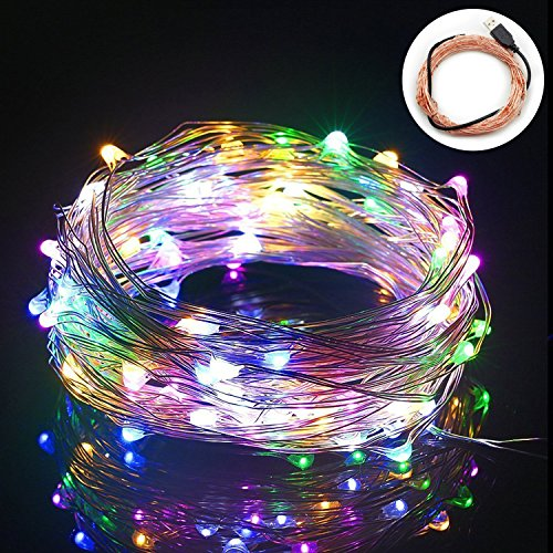 String Lights,Bienna 100 LED 33ft /10M USB Powered Copper Wire Starry Fairy Weatherproof Lighting for Outdoor Bedroom Indoor Patio Home House Cafe Christmas Xmas Tree Holiday Wedding Party-Multi Color by BIENNA