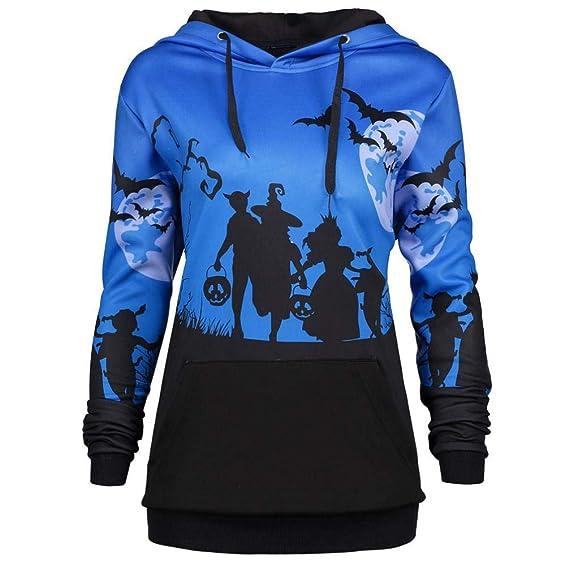 Mujer Sudaderas, ASHOP Manga Larga Luna de Halloween Bat Impresión Blusa Talla Extra Sweatshirt Casual Encapuchado Sudadera Mujer Cremallera Corta Top ...