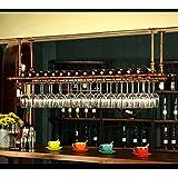 WGX Wine Bar Wall Rack 47'',Hanging Bar Glass Rack&Hanging Bottle Holder Adjustable(Bronze)