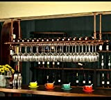 WGX Wine Bar Wall Rack 47'',Hanging Bar Glass Rack&Hanging Bottle Holder Adjustable(Bronze)