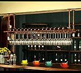 WGX Design For You WGX Wine Bar Wall Rack 47'',Hanging Bar Glass Rack&Hanging Bottle Holder Adjustable(Bronze)