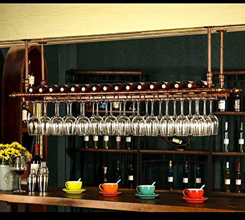 WGX Design For You WGX Wine Bar Wall Rack 47'',Hanging Bar Glass Rack&Hanging Bottle Holder Adjustable(Bronze) Hanging Glass Shelves