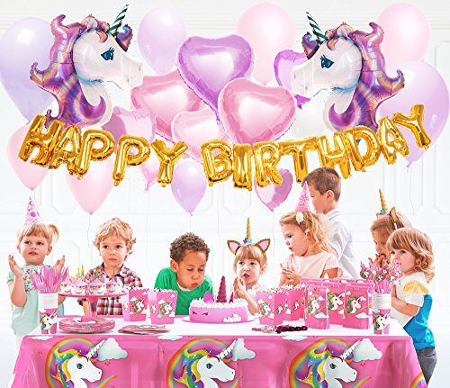 180+ PCS Complete Unicorn Party Supplies & Decorations - Glittery Unicorn Headband | Disposable Tableware Set | 30 Magical Balloons | 24 Pc Unicorn Cupcake Wrappers & Toppers | Party Favors by FETTI FETTI (Image #5)