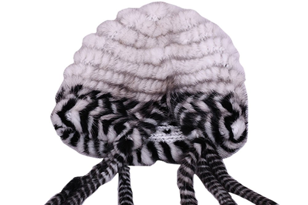 Queenshiny New Fashion Women's 100% Real Genuine Mink Fur Knitted Hat with Tassel-One Size-White