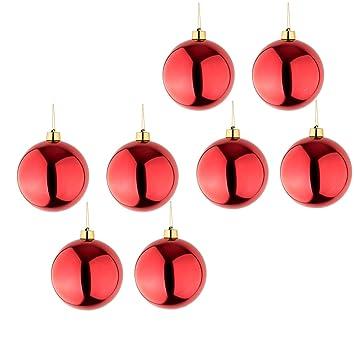 Christbaumkugeln Hochwertig.8 Grosse Weihnachtskugeln Christbaumkugeln Rot Glanzend 25 Cm Durchmesser Hochwertig Fur Innen Und Wetterfest Fur Aussen Mit Aufhangung Und Goldband