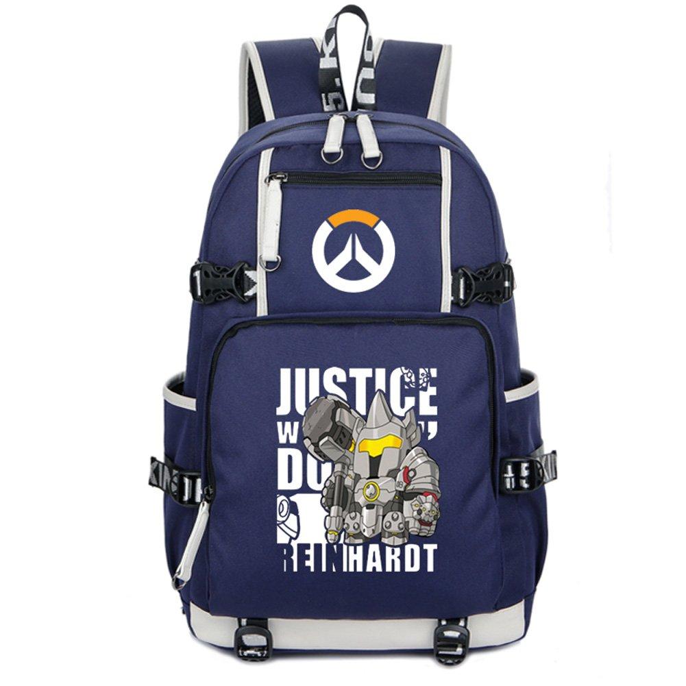 eee5055d0fe5 YOURNELO Boy's Overwatch Travel Laptop Bag High Capacity Rucksack School  Backpack Bookbag (Reinhard Blue)
