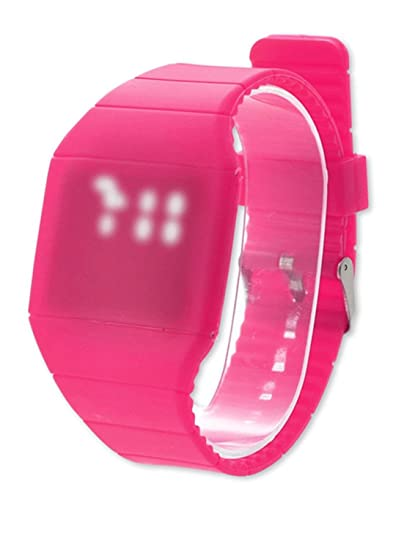 DSstyles Reloj deportivo para niños Reloj resistente al agua de color caramelo con luz LED táctil para niñas adolescentes - Magenta: Amazon.es: Relojes