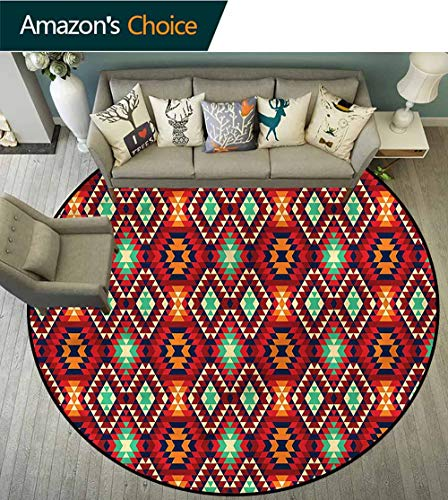RUGSMAT Native American Luxury Round Area Rugs,Diamond Form Tiles Foam Mat Bedroom Decor Diameter-39