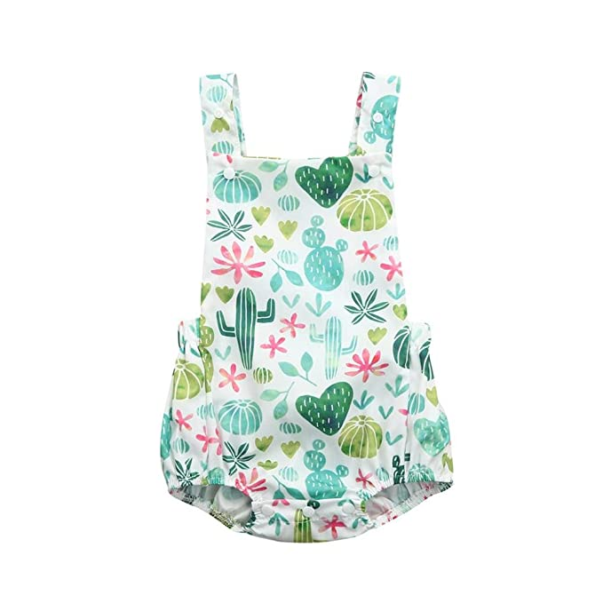 993cd9e6087 Lanhui Infant Baby Romper Cactus Floral Print Vest Sleeveless Backless  Jumpsuit (Light Blue