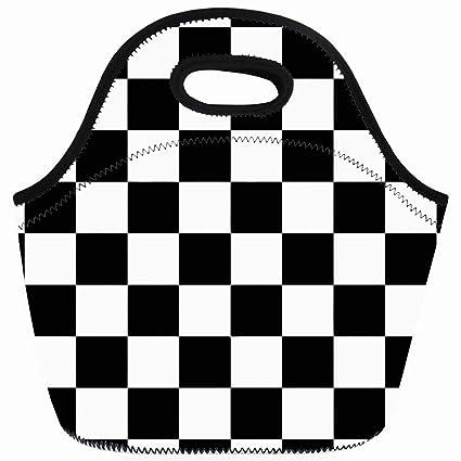 fce96e85b6 Ahawoso Reusable Insulated Lunch Tote Bag Race Classic Checkered I Bleed  Racing Check Black Flag Zippered
