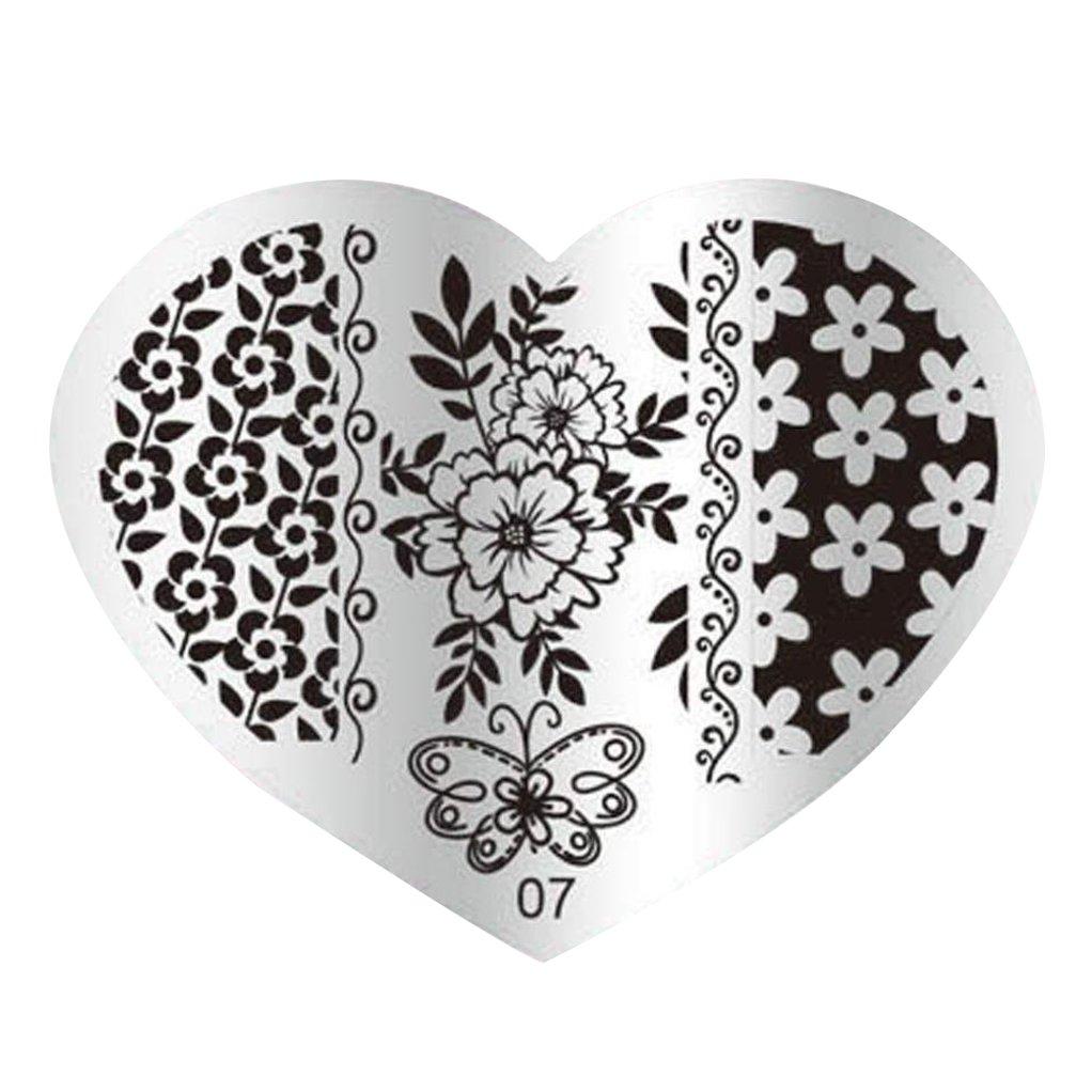 Nail Stempel Platten - TOOGOO(R)DIY Nagel-Kunst-Bild-Stempelplatten Manikuere Schablone Stanzen (07#) SODIAL(R) 074447A6
