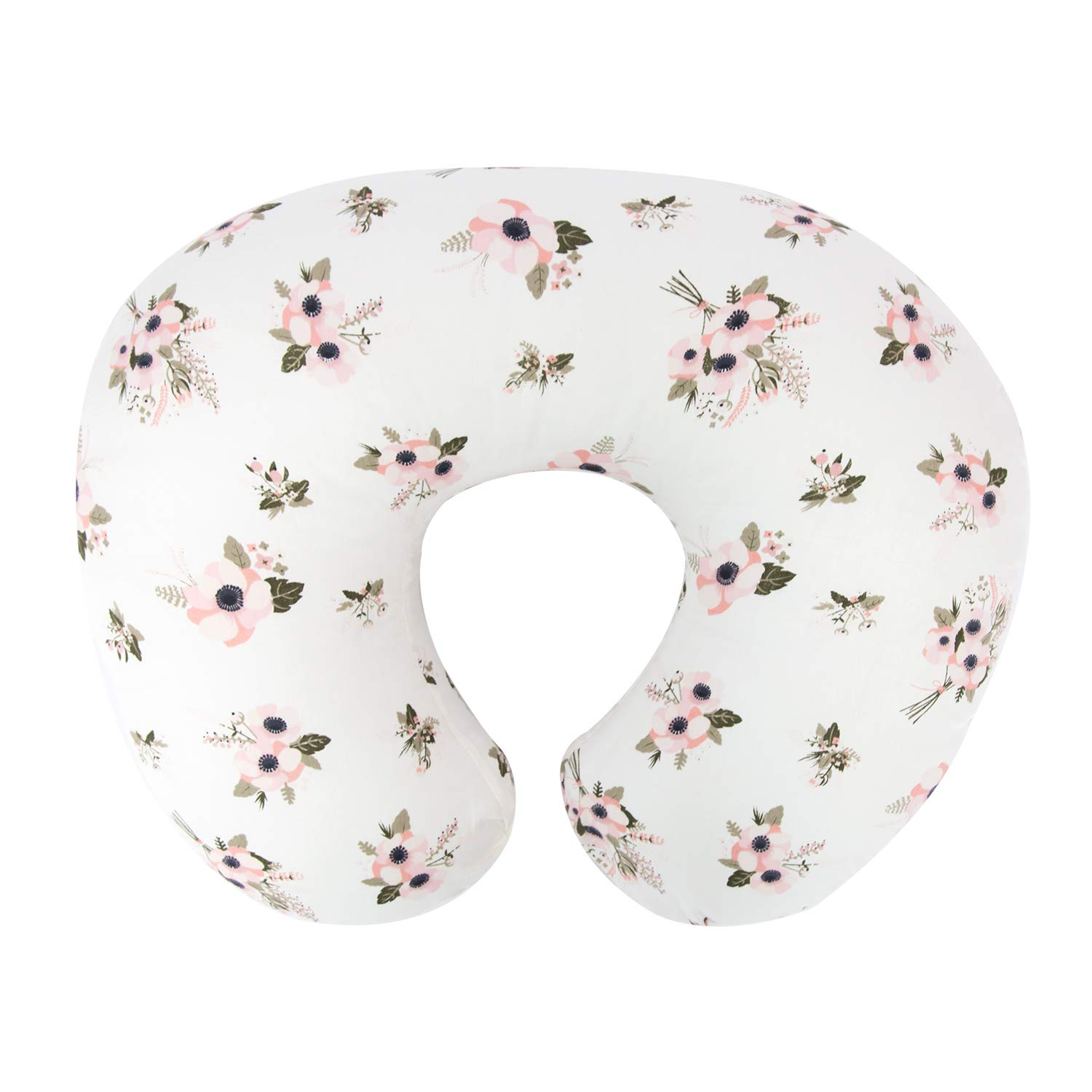 TILLYOU Large Zipper Personalized Nursing Pillow Cover, 100% Cotton Hypoallergenic Pillow Slipcovers, Safely Fits On Standard Infant Nursing Pillows, Floral