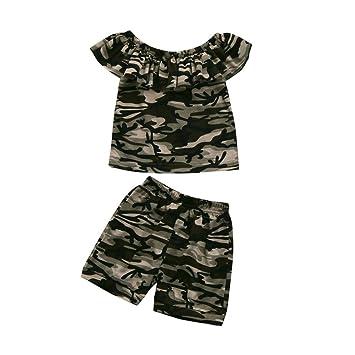 c6891ac66 Amazon.com  FEITONG Toddler Kids Baby Boys Girls Camouflage T shirt ...