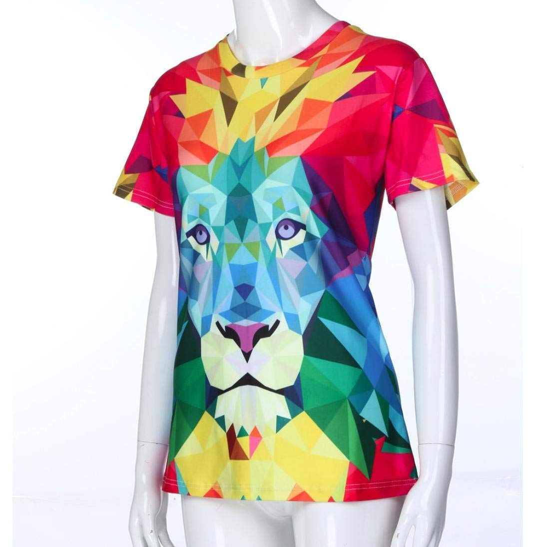 Amazon.com  Cool Women Multicolour Lion 3D Digital Print Shirts Casual  Short Sleeve Top T Shirts Sports Casual Colthing  Clothing df20806cdf