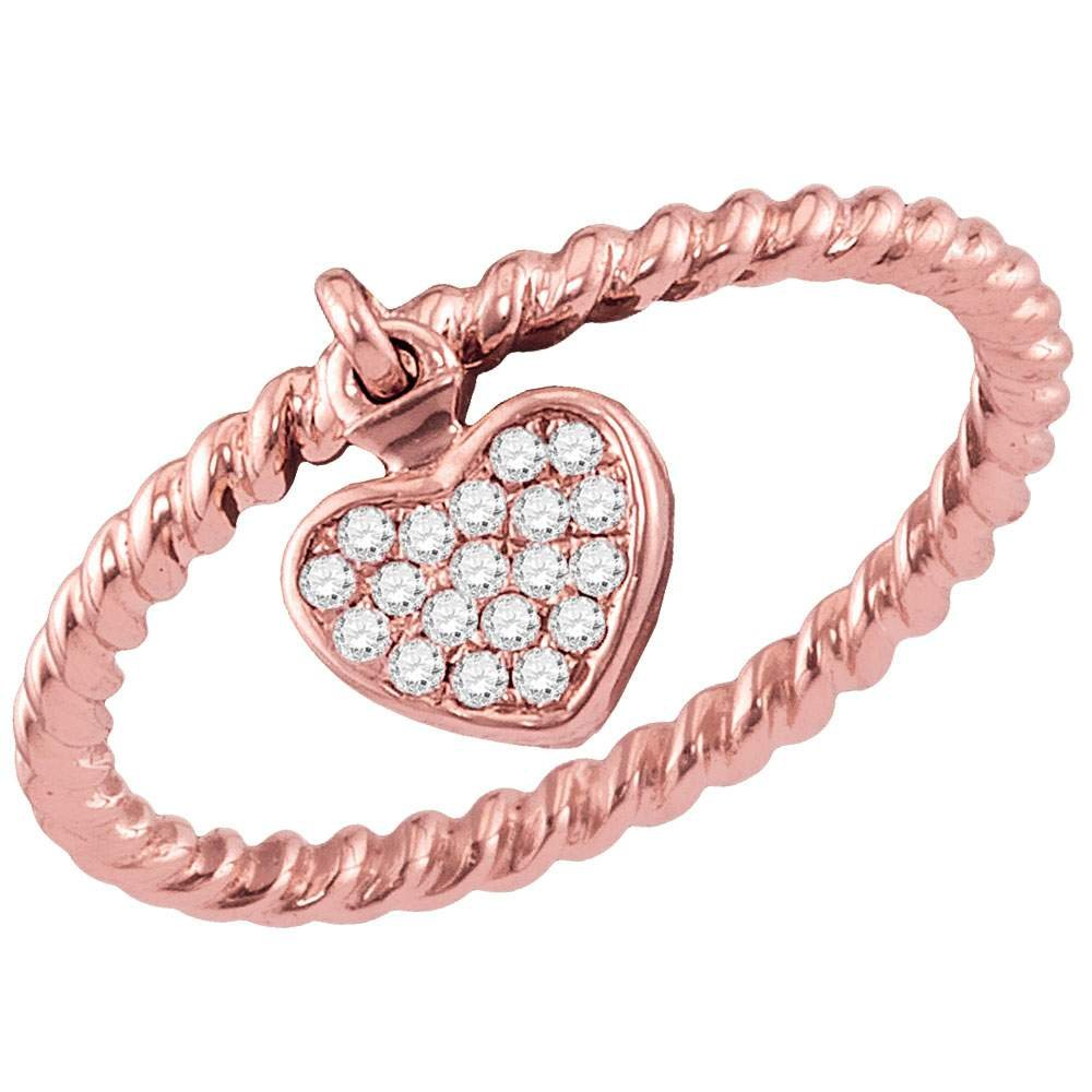 Womens 10K Rose Gold Band Style Ring Love Heart Rope Stackable Enhancer 1/10 CT by IdealCutGems-JSS