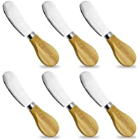 FutGlobal Cheese Spreaders with Bamboo Handle, 5 Inch Stainless Steel Butter Spreader, Deluxe Sandwich Cream Cheese Condiment Knives- 6 Pieces