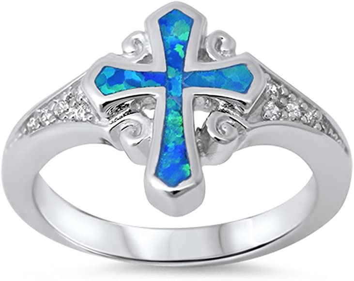 Brightt Heart Cubic Zirconia Cross .925 Sterling Silver Ring Sizes 4-13