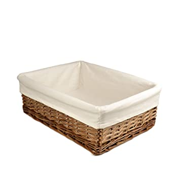 RURALITY Rectangular Wicker Storage Baskets Woven Basket With Thickness  Lining For Home Decoration,Coffee Color