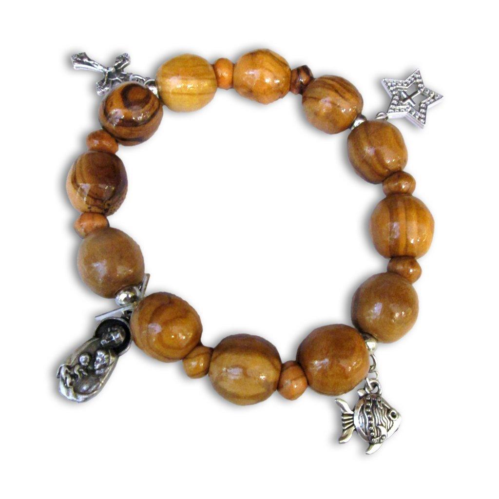 Rosario/bracciale il legno di ulivo, con pendenti, importato dalla Terra Santa Bamb