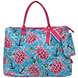 quilted fabric bags - Ngil Quilted Cotton Extra Large Overnight Travel School Tote Bag 3 (Fall 2017 New Pattern) (Turtle and Me Hot Pink)