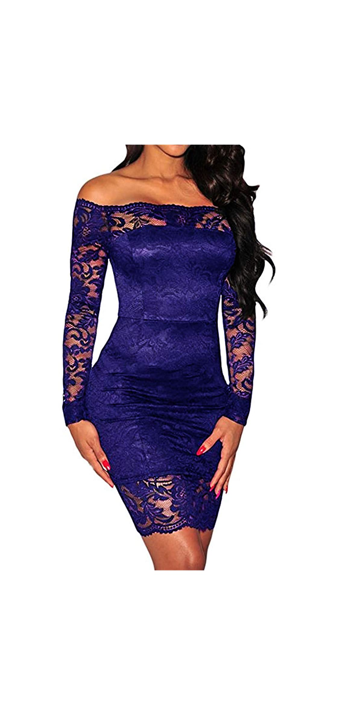 Women's Off Shoulder Sexy Lace Bodycon Elegant Cocktail