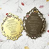 Customized 5x7inch Laser Engraved letters Vintage Hollow Style Silver Mirror Acrylic Invitation Card 50pcs Per Lot