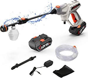 ROCKPALS Cordless Pressure Washer, 40V Battery Max 870 PSI Power Washer with Accessories, Portable Power Cleaner with 6-in-1 Adjustable Nozzle, Suitable for Washing Cars/Fences/Siding