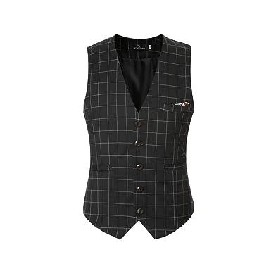 Slim Fit Herrenweste Karriert Design Retro Vintage stilvoll einreiher Anzugweste Weste