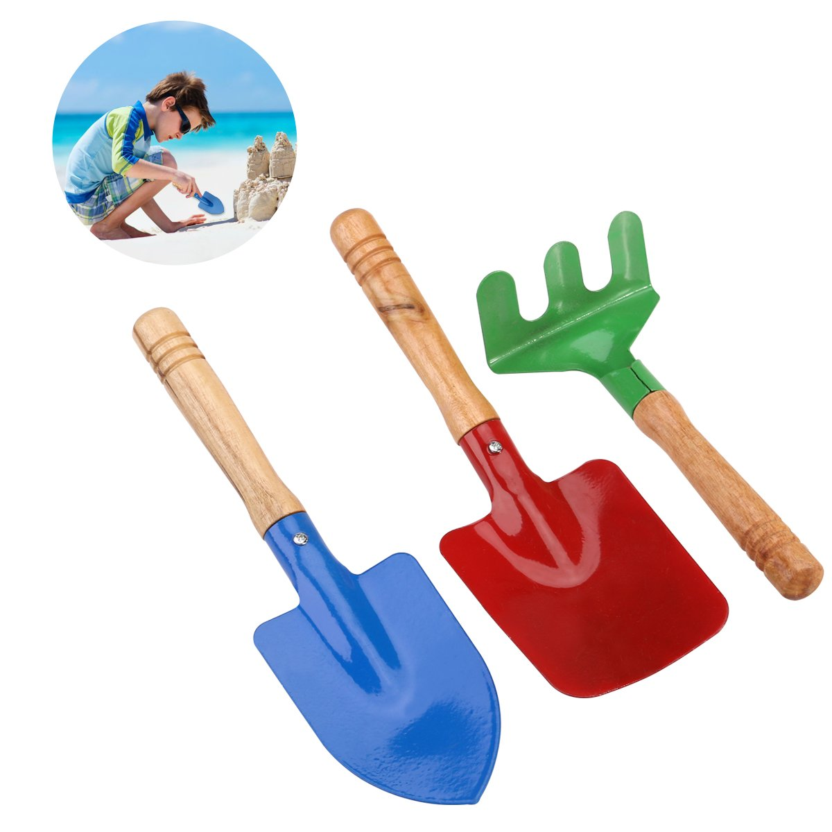 NUOLUX Outdoor Garden Tools Set Rake Shovel Kids Beach Sandbox Toy 3pcs